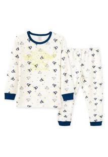 Pijama Infantil Pingo Lelê Manga Longa Em Suedine Astro Off White