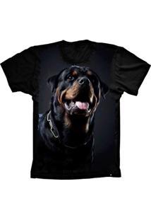 Camiseta Baby Look Lu Geek Rottweiler Preto