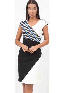Vestido Listrado Com Recortes- Preto & Azul- Nectarinectarina