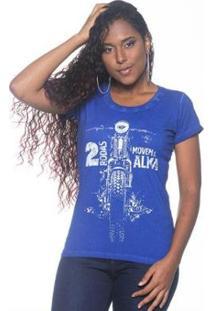 Camiseta Moto Lovers Duas Rodas Feminina - Feminino-Azul