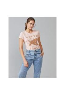 Amaro Feminino T-Shirt Slim Fit Solte Suas Feras, Rosa Claro