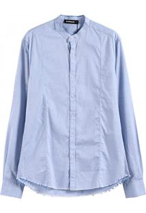 Camisa Masculina Slim Manga Longa - Azul Claro Xg