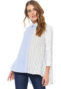 Camisa Calvin Klein Jeans Listras Branca Azul cf3082590d