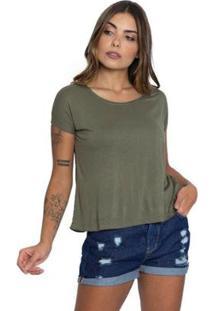 Camiseta Básica Le Julie Feminina - Feminino-Verde Militar