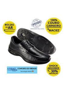 Sapato Masculino Social Couro Jota Pe Air Life 10904 Preto