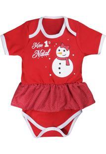 Body Saia De Bebê Meu Primeiro Natal Vermelho Vermelho