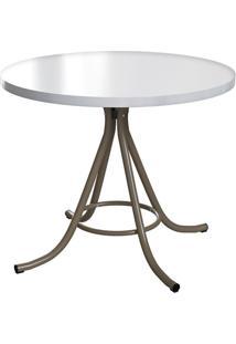 Mesa De Cozinha Redonda Core I Off White E Marrom 90 Cm