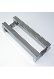 Puxador Para Porta Duplo Em Inox Tokyo 60Cm Geris Prata