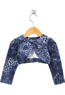 Bolero Cacau Kids Plush Animal Print Azul