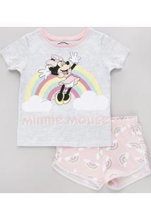 Pijama Infantil Minnie Manga Curta Cinza Mescla Claro
