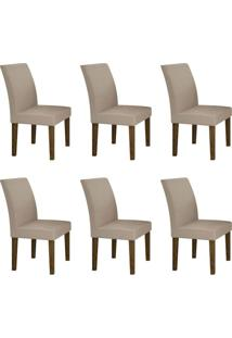 Conjunto Com 6 Cadeiras Olímpia Ipê E Veludo Palha