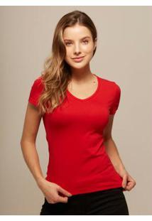 Camiseta Baby Look Vermelho Gola V