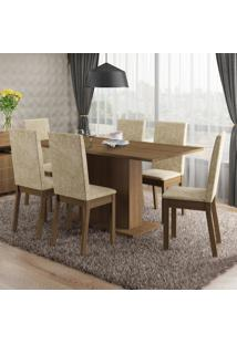 Conjunto Sala De Jantar Susan Madesa Mesa Tampo De Madeira Com 6 Cadeiras Marrom - Marrom - Dafiti