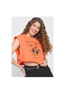 Camiseta Colcci Mickey Laranja
