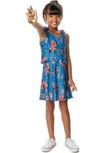 Vestido Azul Plissado Floral Menina Malwee Kids
