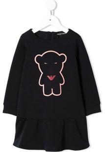 Emporio Armani Kids Vestido Teddy Bear - Preto
