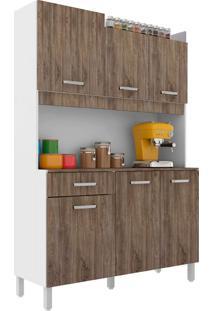 Cozinha Compacta Malaga 6 Pt 1 Gv Branca E Rústico