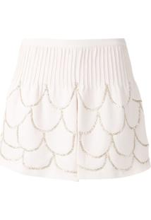 Andrea Bogosian Short Pie Couture Bordado - Rosa