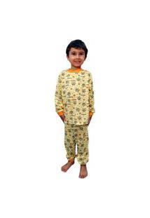 Pijama Manga Longa Infantil Hippo Tamanho 02 Ao 10 Amarelo