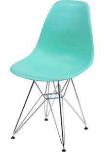 Cadeira Eames Polipropileno Verde Tifanny Cromada - 35834 - Sun House