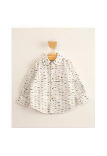 Camisa Infantil De Algodão Com Bolso E Mini Estampa De Monstrinhos Off White