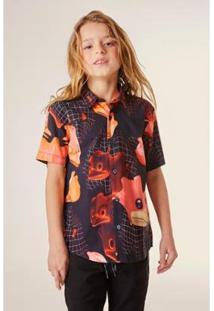 Camisa Infantil Pf Mc Animojy Reserva Mini Masculina - Masculino-Vermelho
