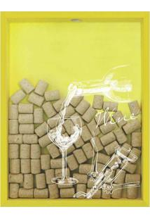 Quadro Porta Rolhas De Vinho Wine Taça 32X42X4Cm Amarelo