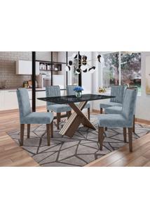 Conjunto De Mesa De Jantar Com Tampo De Vidro Madrid E 6 Cadeiras Ana Animalle Nero E Azul