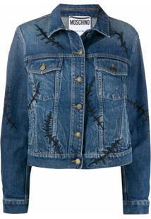 Moschino Jaqueta Jeans Scars - Azul