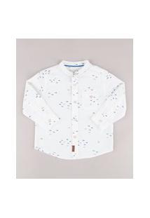 Camisa Infantil Estampada De Peixe Com Bolso Manga Longa Gola Padre Off White