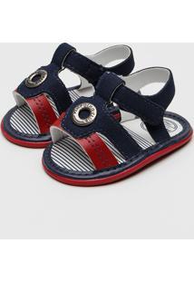 Sandália Pimpolho Infantil Tiras Azul-Marinho/Vermelho
