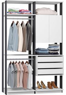 Closet Modulado 1 Armário 3 Gavetas E 2 Cabideiros Clothes 9014 – Be Mobiliário - Branco / Espresso