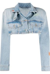 Heron Preston Distressed Cropped Jacket - Azul
