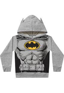 Jaqueta Moletom Infantil Fakini Batman Com Capuz - Masculino-Mescla