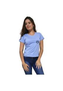 Camiseta Feminina Gola V Cellos Postmark Premium Azul Claro