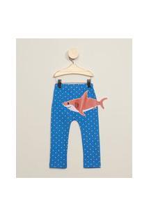 Calça Infantil Estampada Barquinhos Com Bordado Tubarão Azul