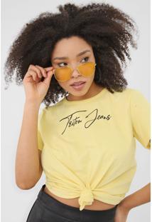 Camiseta Triton Lettering Amarela - Amarelo - Feminino - Algodã£O - Dafiti