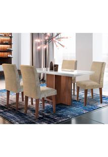 Conjunto De Mesa De Jantar Berlim Ii Off White Com 4 Cadeiras Grécia Suede Chocolate E Café