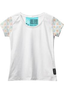 Camiseta Baby Look Feminina Algodão Estampa Flor Estilo Moda - Feminino-Branco