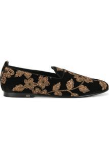 Dolce & Gabbana Slipper Floral De Couro - Preto