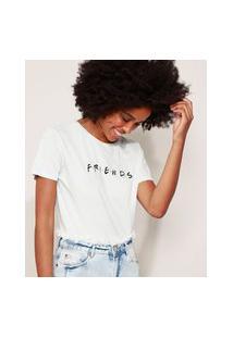 Camiseta Feminina Friends Manga Curta Decote Redondo Verde Claro