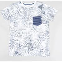 CEA. Camiseta Infantil Estampada De Folhagens Com Bolso Manga Curta Gola  Careca Branca 424623556d218