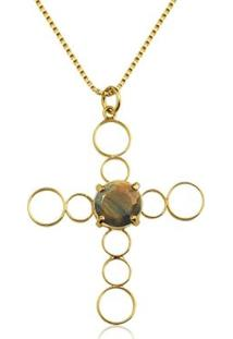 Colar Toque De Joia Crucifixo Olho De Tigre Ouro Amarelo - Feminino-Dourado