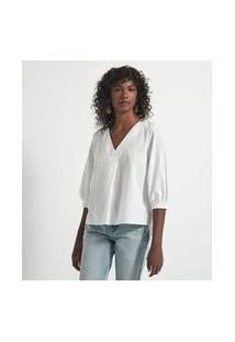 Camisa Manga 3/4 Em Tricoline Com Prega Frontal | Marfinno | Branco | Pp
