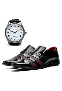 Sapato Social Elegant Com Relógio New Dubuy 813La Vinho