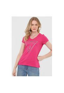 Camiseta Guess Logo Glitter Rosa