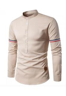 Camisa Masculina Slim Casual Manga Longa - Bege