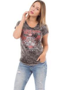 Camiseta Aes 1975 Lifestyle Feminina - Feminino-Preto