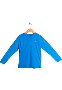Camisa Infantil Poker Com Fator De Proteção Uv 50+ Azul - P