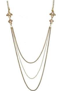 Colar Armazém Rr Bijoux Fio Brilhoso Com Correntes Cristais - Feminino-Dourado